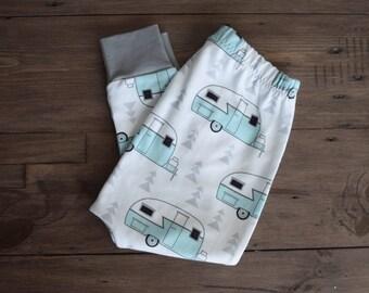 100% Organic Cotton Baby/Tot Harem Leggings, Vintage Camper
