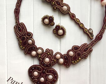 Marsala soutache jewelry set