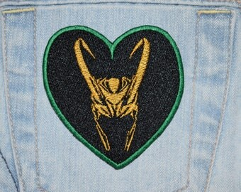 Norse Trickster God Helmet in Heart Iron-on Embroidered Patch