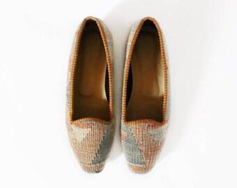 Handmade Kilim Shoes, Boho Shoes, Flat Shoes, Berber Shoes, Leather Shoes, Slip On Shoes, Vintage Turkish Kilim Espadrillas US8 / EU38.5