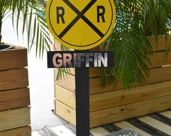 Personalized Railroad Crossing Sign/Prop/Centerpiece- Train Party or Decor