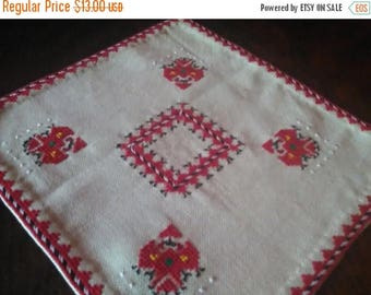 Vintage HandMade embroidered tablecloth on bulgarian folklor unique for table in the living room