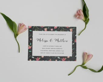 Printable Engagement Party Invitation - Rustic Floral Engagement Invite - Printable PDF Template Download