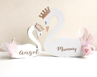 Mothers Day Gifts, Childrens Bedroom Accessories, Freestanding, Princess Swan, Swan Shelfie, Personalised Gift, Nursery Decor, Gifts For Mum