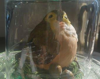 Handmade glass solar light with bird