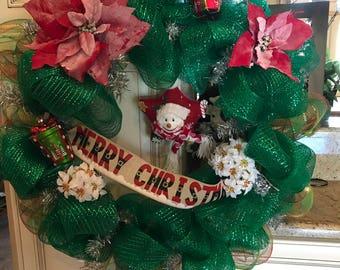 Merry Christmas Deco Mesh Wreath