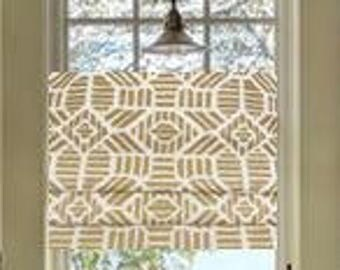 Faux Roman Shades and Valances in Metallic Gold and White Print or Silver Metallic and White Print.  Fully Lined. Easy to hang