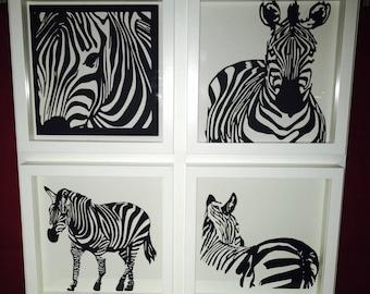 Zebra sheet of paper cut