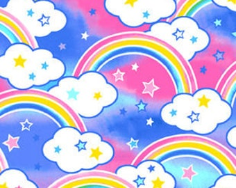 Rainbows Pink Blue Printed Fleece Tied Blanket