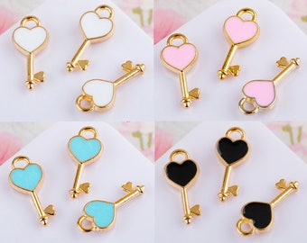 10pcs Golden Key Charms-Enamel Heart Key Charm Pendant Bracelet Necklace Diy Jewelry Supplies Accessories 4 Color