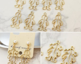 10 Pcs Golden Boy And Girl Charms Pendants,Figure Frame Charm For Earring Necklace Jewelry Making DIY Handmade Craft