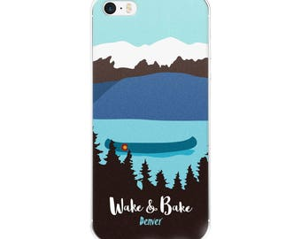 Wake and Bake Denver Cannabis Mountain Scene Canoe Lake Marijuana Colorado Phone Case