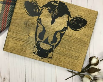 Rustic Cow Wood Sign