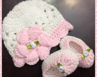 Crocheted Flower Baby Cap and Crocheted Bootie/Shoes...Adorable Baby Shower Gift!