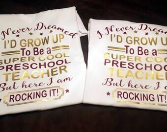 Teacher, School, School Shirt, Preschool,  Kindergarden, First Grade (etc)  Teacher, T-Shirt