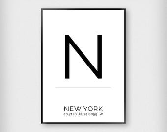 New York | City | Black and White | Coordinates - Fashion - Poster