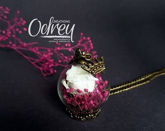 SALE vintage jewelry, eternal Rose, Flower necklace natural, White Rose, Globe, Decoration for rear view mirror, lucky charm