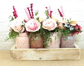 Rose Gold Blush and Champagne Pint Mason Jar Flower Arrangement Planter Box Centerpiece