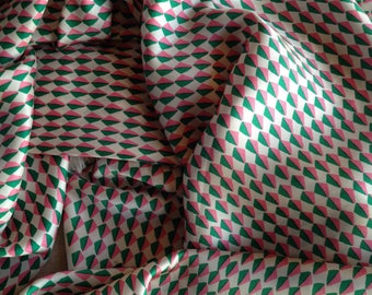 Vintage large patterned  scarf in pink and green
