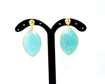 amazonite earring , gemstone stud, natural stone earring , marquise earring, light green stud , drop   earring,amazonite jewelry ,eye shape