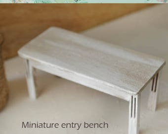 Miniature  Wooden entry bench Scale 1/12, Extraordinary  bench, Dollhouse bench