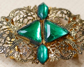 Metal Buckle with Green Stones