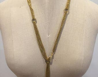 Vintage, Multiple, Chains, Necklace, Long, Gold, Anchor