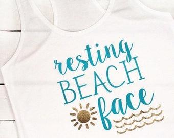 Resting Beach Face Racer Back Tank/Funny Women's Tank/Women's Beach Tank/Funny Saying Tank