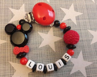 personalized pacifier theme red and black Mickey