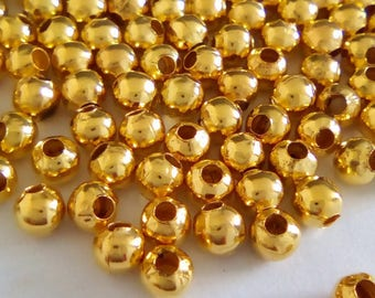 40 spacer 3mm gold tone round beads