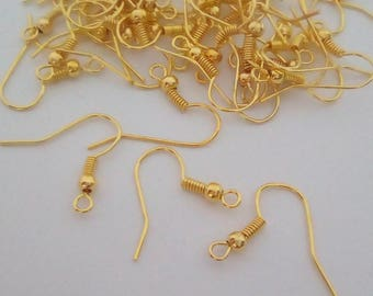 10 hooks earrings Golden 15mm