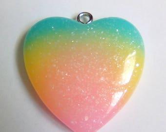 Multicolor heart glitter resin 29x27mm