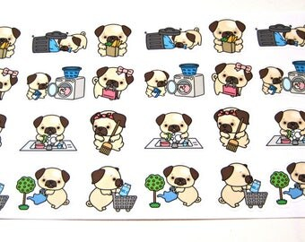 Pug Stickers - Pug Planner Stickers - Chore Stickers - Cleaning Stickers - Shopping Stickers - Laundry Pug - Sweeping Pug - Busy Pugs