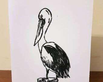 Lino-Print Pelican (A5 Card)