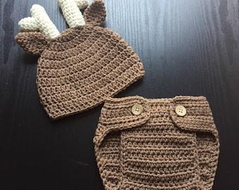 Deer hat, Newborn photo outfit, Deer newborn, Deer outfit, Baby deer, Crochet baby outfit,  Baby deer set,  Baby deer outfit,  Baby animal