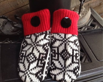 Ladies medium, Elegant black, white and red sweater mittens with beautiful vintage glass buttons,
