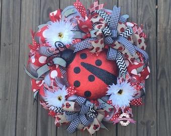 Ladybug Summer Wreath, Ladybug front door Wreath, Summer Wreaths, Ladybug Wreaths, Front Door Wreaths, Deco Mesh Wreath, Red/Black Wreaths