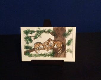 Digital print - Family Picture of Two tigers Laying on a Tree, Great for Gift get Personalized to your Family with Names and Birthdays!