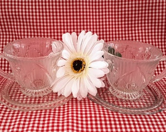 Jeannette Glass Clear Iris and Herringbone, Set of Two (2) Cups and Saucers