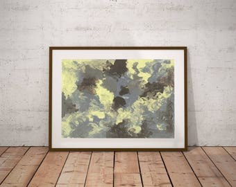 Digital Download Abstract Gouache Print Blue Black Yellow Minimalistic art Home Decor Wall  Printable Modern Color Swirl sea stains painting