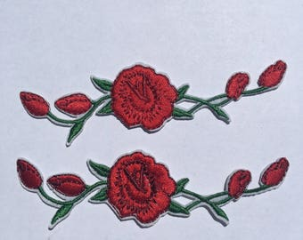 FREE SHIPPING ~ 2 Pieces Red Rose Iron On Patch Craft DIY