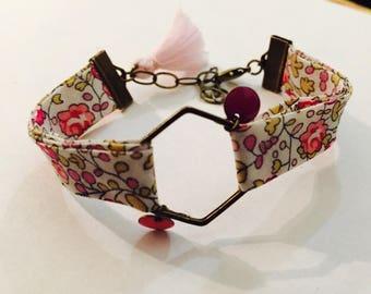 Bracelet obliquely Liberty floral pink tones