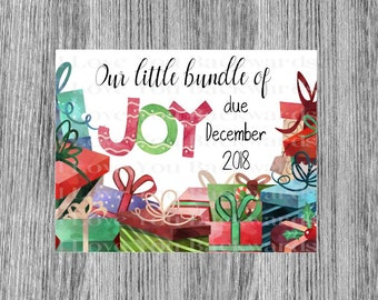 Digital DownloadChristmas December Baby Announcement printable personalized  custom announcement