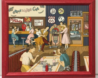 H Hargrove Signed Rock n' Roll Cafe Painting 70/750