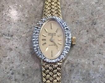 Vintage Gruen Precision Quartz Watch Gold Tone Rhinestones Italy Signed