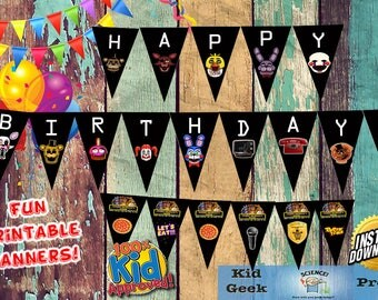 FNAF Five Nights at Freddy's Fazbear and multiple characters party banner! Unique birthday party item!