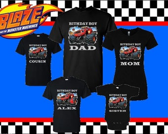 BLAZE and the monster manchine birthday family matching t shirts (New Design)