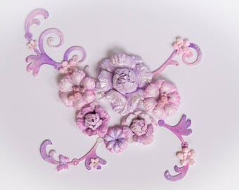 Scrapbooking flower set, lilac paper flowers, gift topper, flower embellishments, craft flowers, card making flowers