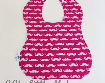 Moustache on pink dribble bib, weaning bib, Baby girl bib, Baby bib, Toddler bib, Large Dribble Bib, baby shower gift, drool bib