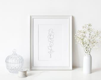 Black and white eucalyptus - handmade